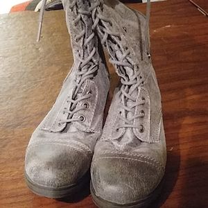 Silver convertible suede boots/ booties